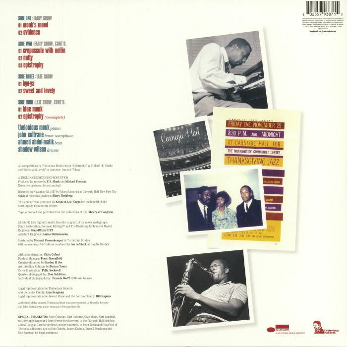 THELONIOUS MONK QUARTET/JOHN COLTRANE - At Carnegie Hall (reissue)