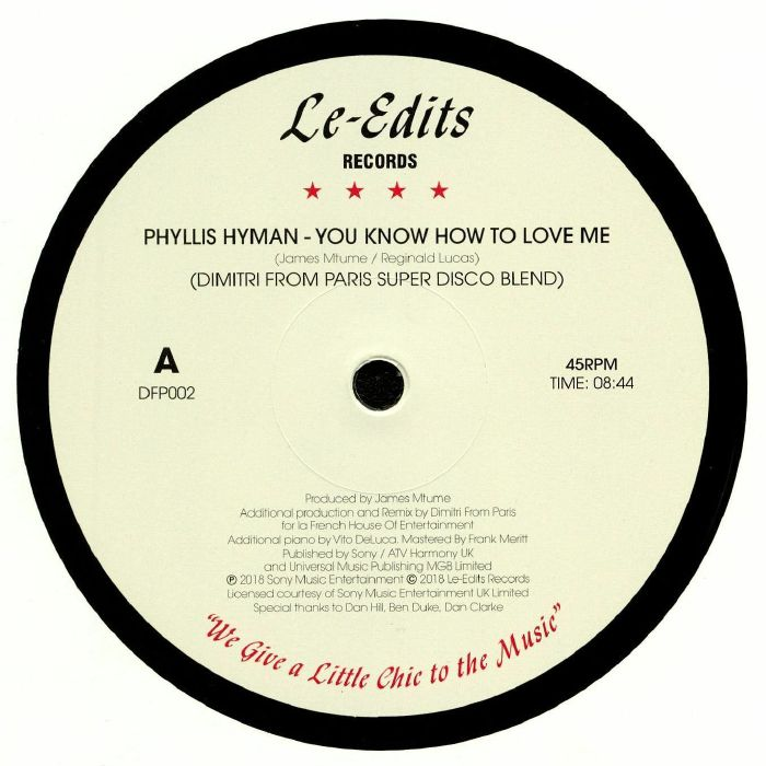 HYMAN, Phyllis/KENI BURKE - You Know How To Love Me (Dimitri From Paris Super Disco Blend)