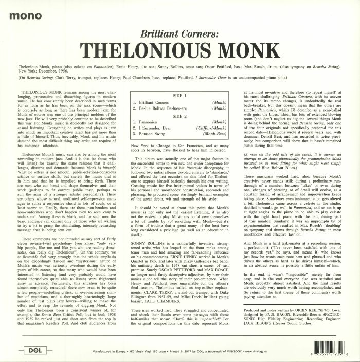MONK, Thelonious with SONNY ROLLINS/ERNIE HENRY/CLARK TERRY - Brilliant Corners