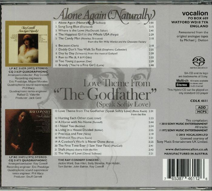 CONNIFF, Ray & THE SINGERS - Alone Again (Naturally) & Love Theme From The Godfather (Speak Softly Love)