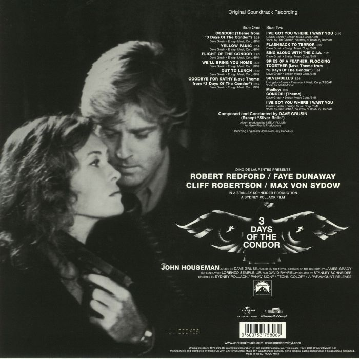 GRUSIN, Dave - 3 Days Of The Condor (Soundtrack)