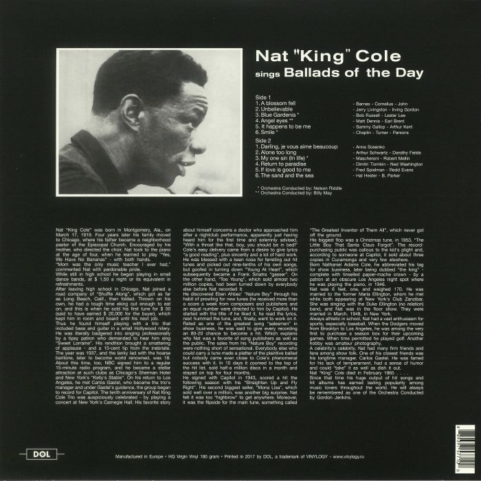 COLE, Nat King - Sings Ballads Of The Day