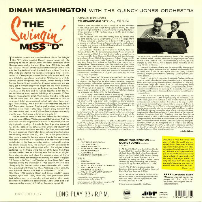 WASHINGTON, Dinah - The Swingin' Miss D (remastered)