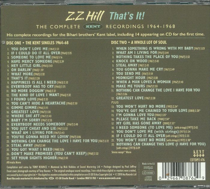 ZZ HILL - That's It!: The Complete Kent Recordings 1964-1968