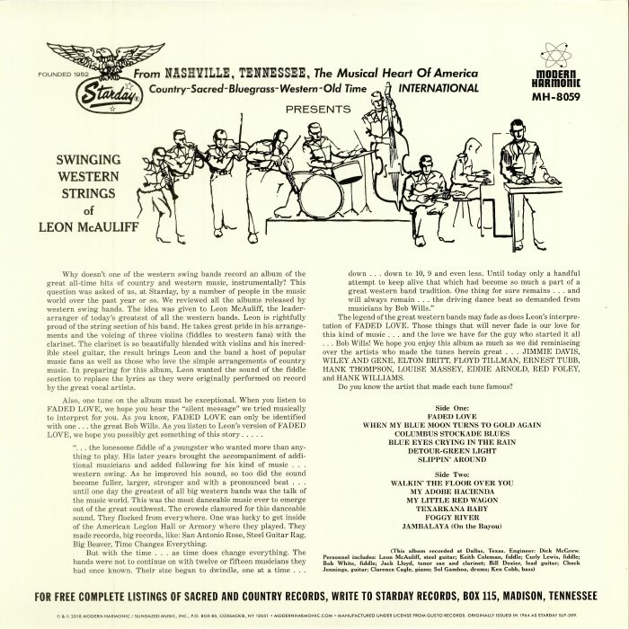 McAULIFF, Leon - Swingin' Western Strings Of Leon McAuliff (reissue)