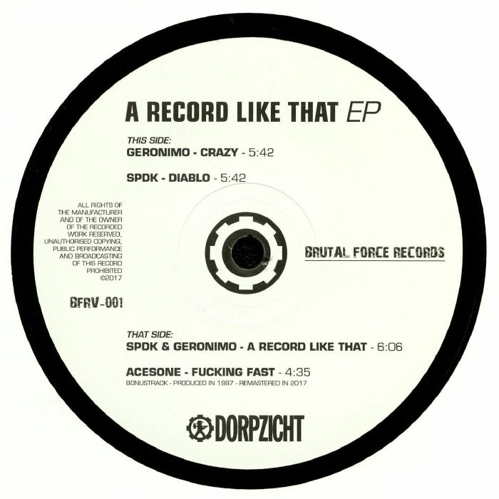 GERONIMO/ACESONE/SPDK A Record Like That EP vinyl at Juno