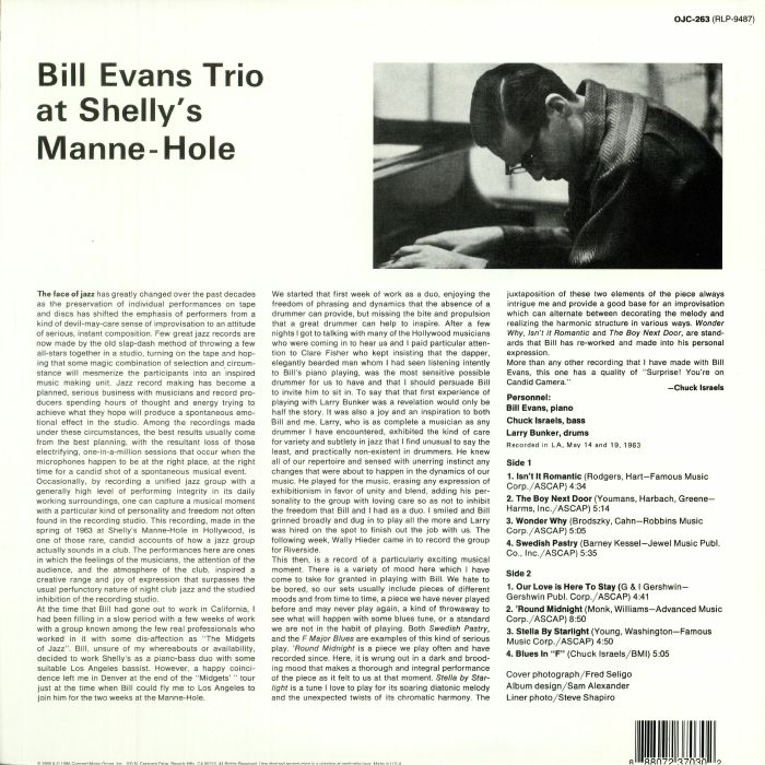 BILL EVANS TRIO - At Shelly's Manne Hole