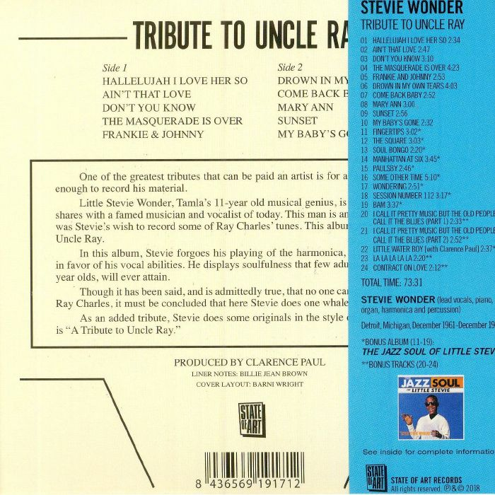 WONDER, Stevie - Tribute To Uncle Ray (remastered)