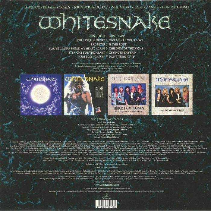WHITESNAKE - 1987: 30th Anniversary Edition (remastered) (Record Store Day 2018)