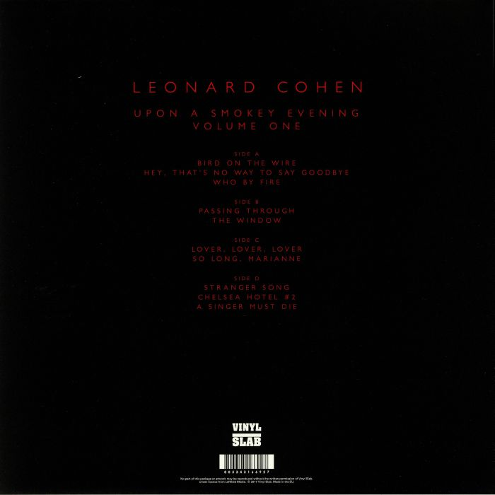 COHEN, Leonard - Upon A Smokey Evening Volume One: FM Broadcast From The Beethovenhalle Bonn 3rd December 1979