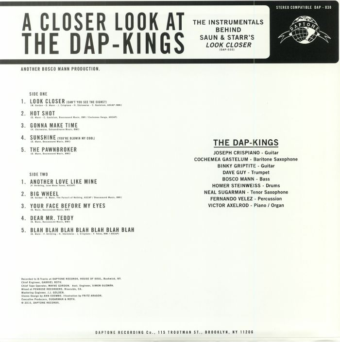 DAP KINGS, The - A Closer Look At The Dap Kings: The Instrumentals Behind Saun & Starr's Look Closer (Record Store Day 2018)
