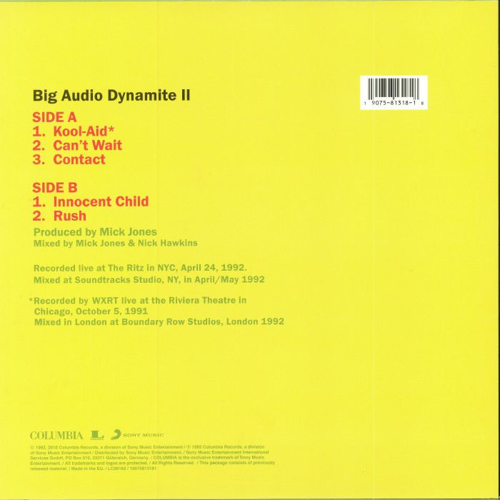 BIG AUDIO DYNAMITE II - On The Road Live '92 (Record Store Day 2018)