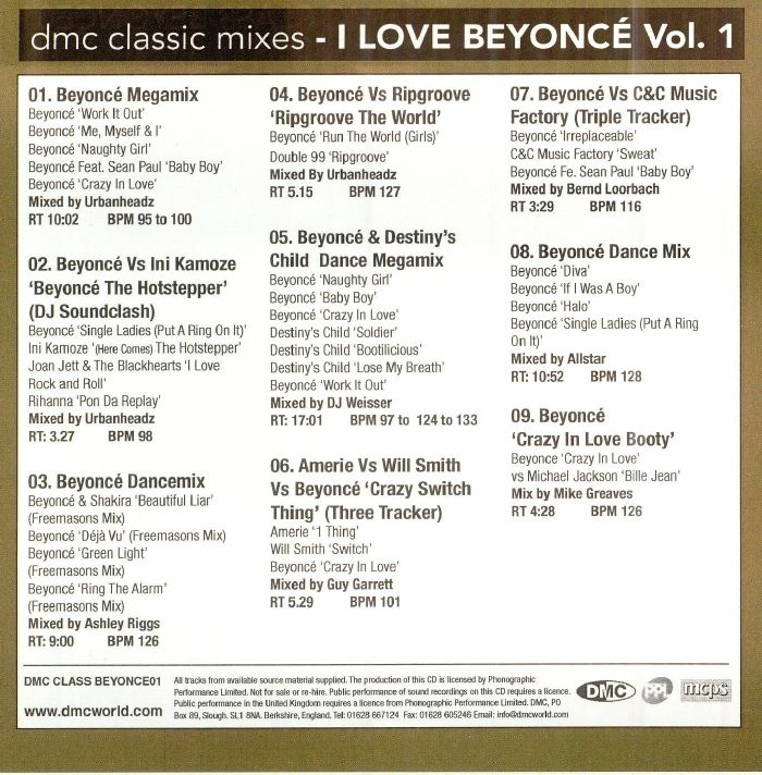 VARIOUS - Classic Mixes: I Love Beyonce Volume 1 (Strictly DJ Only)