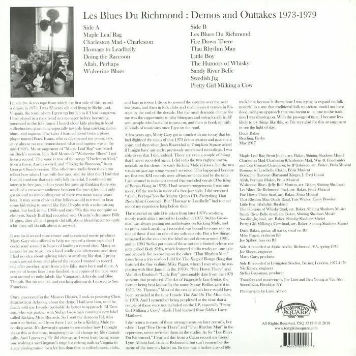 BAKER, Duck - Les Blues Du Richmond: Demos & Outtakes 1973-1979