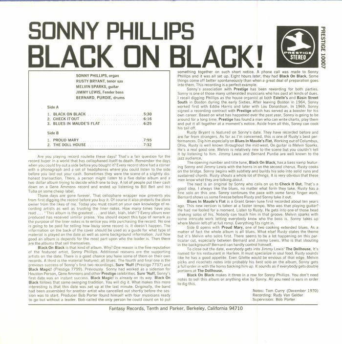 PHILLIPS, Sonny - Black On Black!