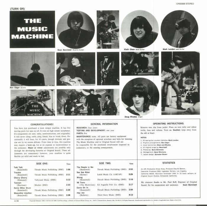 MUSIC MACHINE, The - Turn On: The Music Machine (reissue)