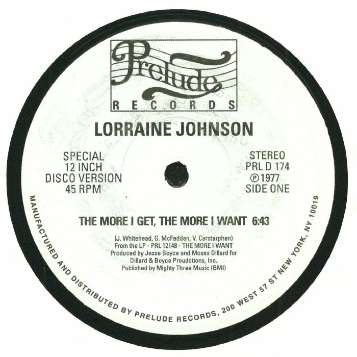 JOHNSON, Lorraine - The More I Get The More I Want (reissue)