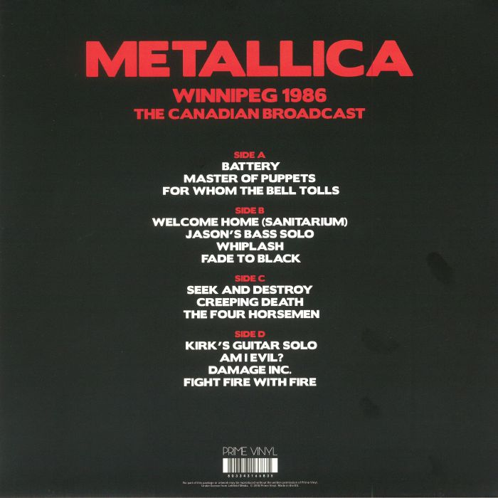 METALLICA - Winnipeg 1986: The Canadian Broadcast