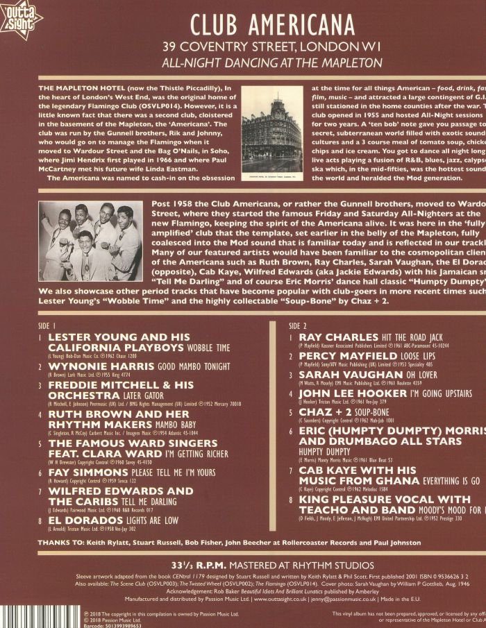 VARIOUS - Club Americana: All Night Dancing At The Mapleton 1955-1958