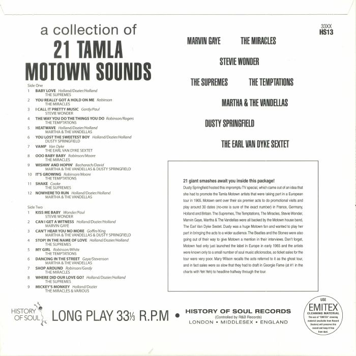 VARIOUS - A Collection Of 21 Tamla Motown Sounds: Tamla Motown Live In Europe 1965 (Record Store Day 2018)