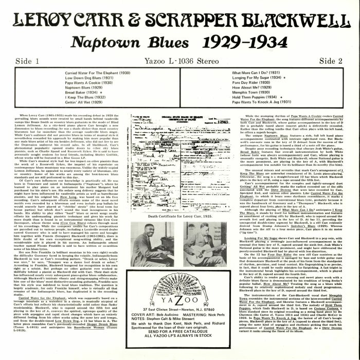 CARR, LeroySCAPPER BLACKWELL - Naptown Blues 1929-1934