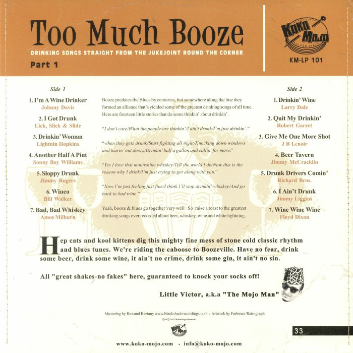 VARIOUS Too Much Booze: Drinking Songs Straight From The