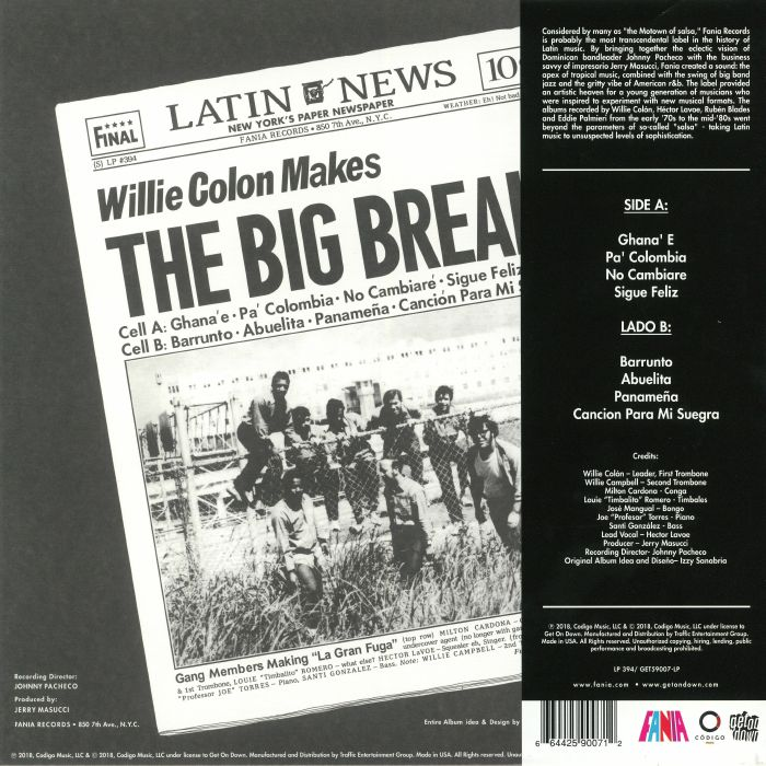 Willie COLON Wanted By The FBI For The Big Break: La Gran