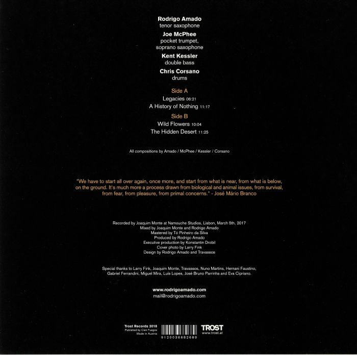 AMADO, Rodrigo/JOE McPHEE/KENT KESSLER/CHRIS CORSANO - A History Of Nothing
