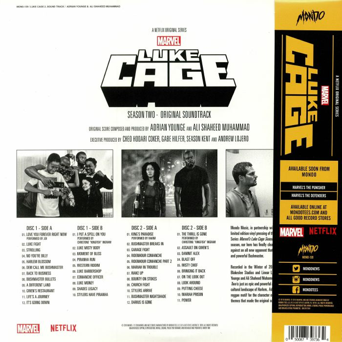 YOUNGE, Adrian/ALI SHAHEED MUHAMMAD - Luke Cage: Season Two (Soundtrack)