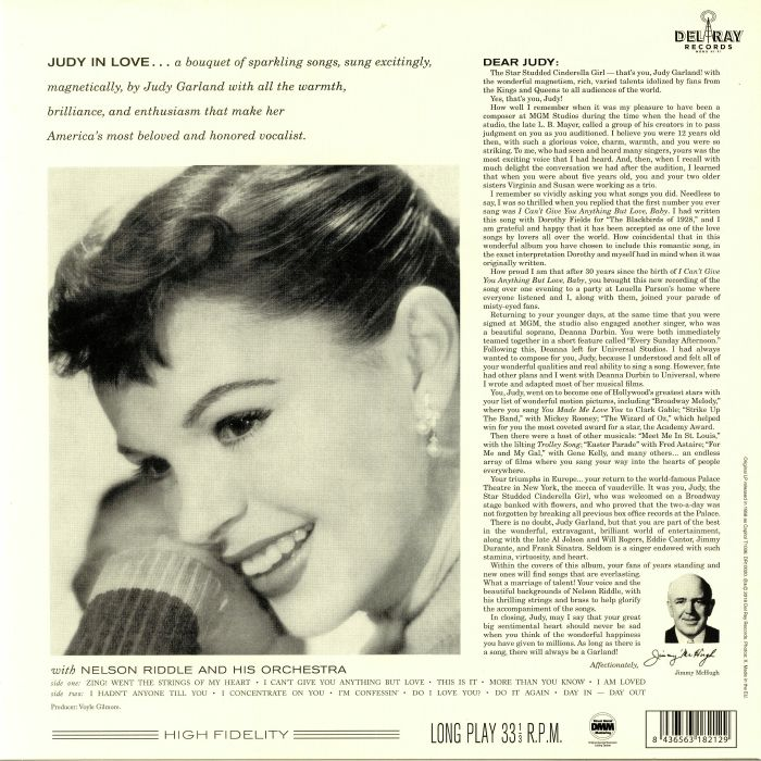 GARLAND, Judy with NELSON RIDDLE & HIS ORCHESTRA - Judy In Love