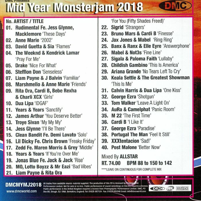 VARIOUS - Mid Year Monsterjam 2018 (Strictly DJ Only)