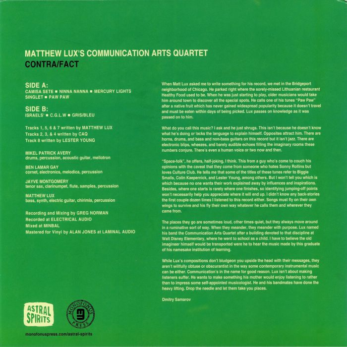 MATTHEW LUX'S COMMUNICATION ARTS QUARTET - Contra/Fact (reissue)