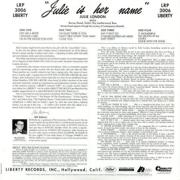 Julie LONDON Julie Is Her Name (reissue) vinyl at Juno Records