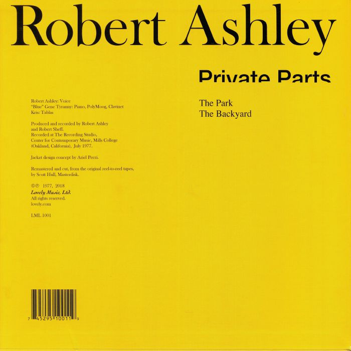Robert ASHLEY Private Parts vinyl at Juno Records