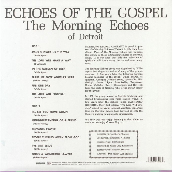 The MORNING ECHOES OF DETROIT Echoes Of The Gospel (reissue) vinyl