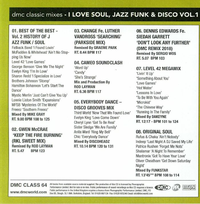 I Love Soul Jazz Funk & Disco Volume Vol 1 Strictly DJ Only