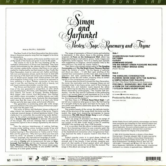 SIMON & GARFUNKEL Parsley Sage Rosemary & Thyme vinyl at