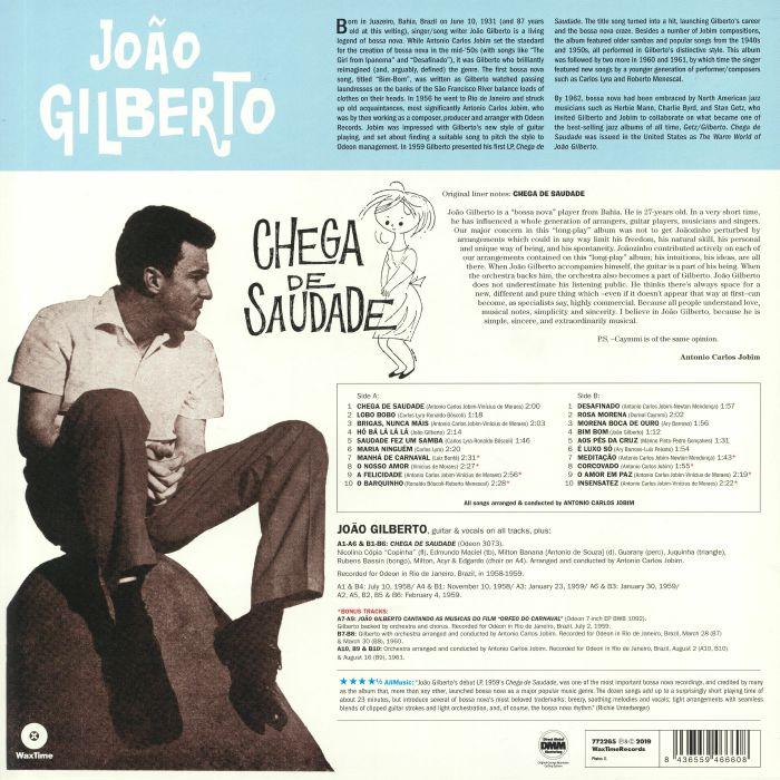 Joao GILBERTO Chega De Saudade (60th Anniversary Edition) vinyl at