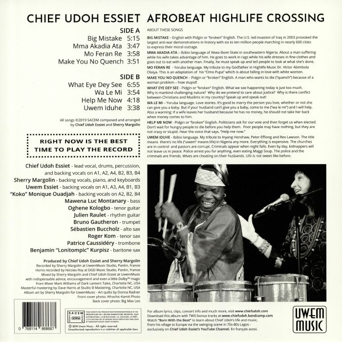 CHIEF UDOH ESSIET Afrobeat Highlife Crossing vinyl at Juno