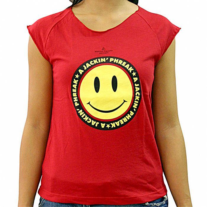 A JACKIN PHREAK - A Jackin Phreak Sleeveless T-Shirt (red with yellow smiley face)