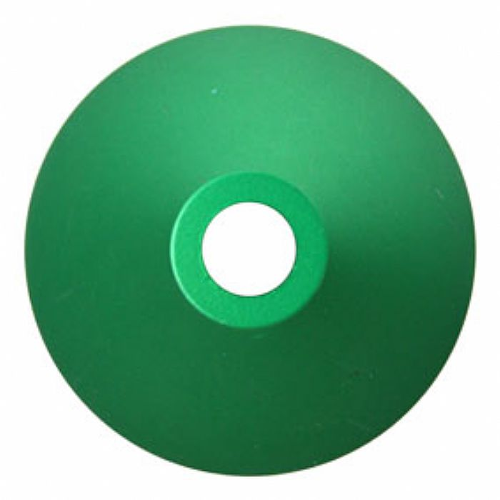SPINDLE ADAPTER CENTER - Spindle Adapter Center For Playing 45 RPM Records (green aluminium, cone shaped)
