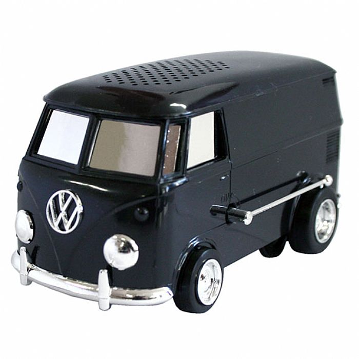 SOUNDWAGON - Soundwagon Portable Record Player (limited edition black & chrome version, miniature record player in the form of a Volkswagen van that plays records at 33rpm from self contained speaker)
