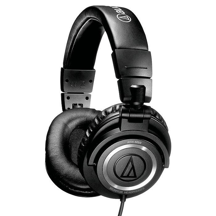 Audio Technica ATHM50 Professional Studio Monitoring Headphones (black, coiled cable)