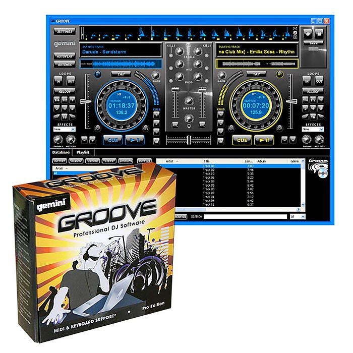 Gemini Groove Professional MIDI DJ Mixing Software (auto mix, effects,  loops, hot cues, master tempo and keyboard capable, Windows XP/Vista  compatible