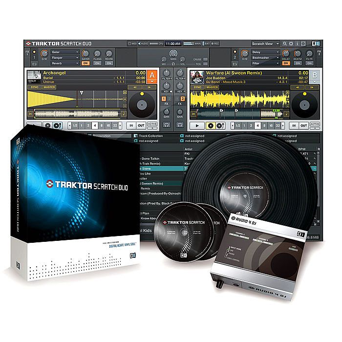 NATIVE INSTRUMENTS - Native Instruments Traktor Scratch Duo (includes Traktor Duo software, Audio 4 DJ interface, control records & CDs for Mac OS & Windows)