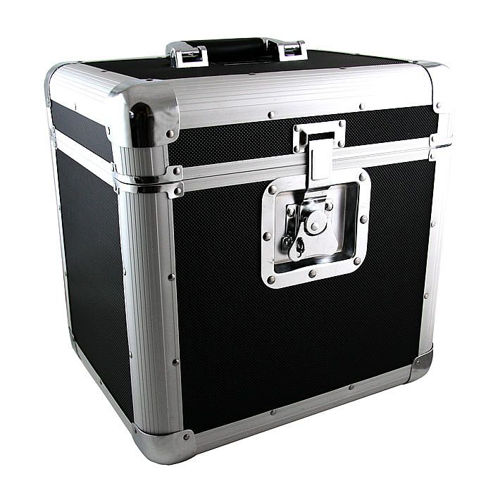 12 Record Box Flight Case Black Aluminium 12 Record Box