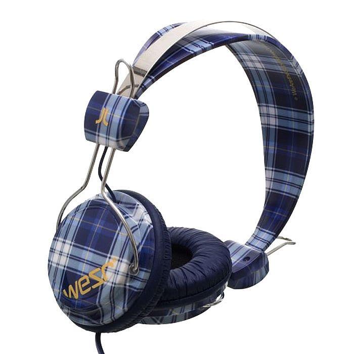 Wesc Checked Bongo Headphones (unisex premium headphones) (medium blue)