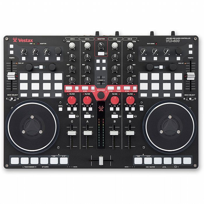VESTAX - Vestax VCI400 Professional MIDI & Audio USB DJ Controller With Virtual DJ LE Software and Serato DJ Free Upgrade (black)