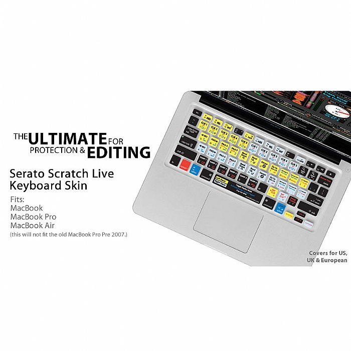 KB COVERS - KB Covers Serato Scratch Live Keyboard Shortcut Cover For Apple Mac MacBook MacBook Air & MacBook Pro