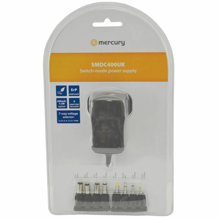MERCURY - Mercury SMDC400UK Switch Mode Plug In Power Supply (3-12V, 600mA)